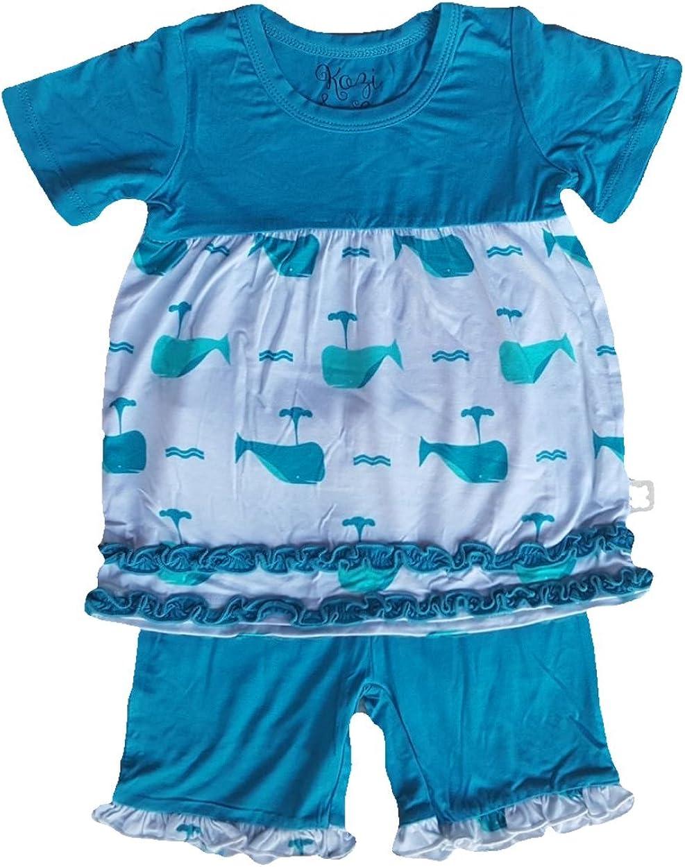 shipfree Kozi Co. New product type Girls Short Sleeve Tunic 5 Aqua Set Years Whales