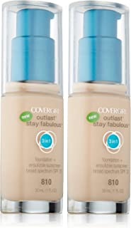 CoverGirl Outlast Stay Fabulous 3-in-1 Foundation + Broad Spectrum SPF 20, Classic Ivory 810-1 fl oz (30 ml) - Pack of 2