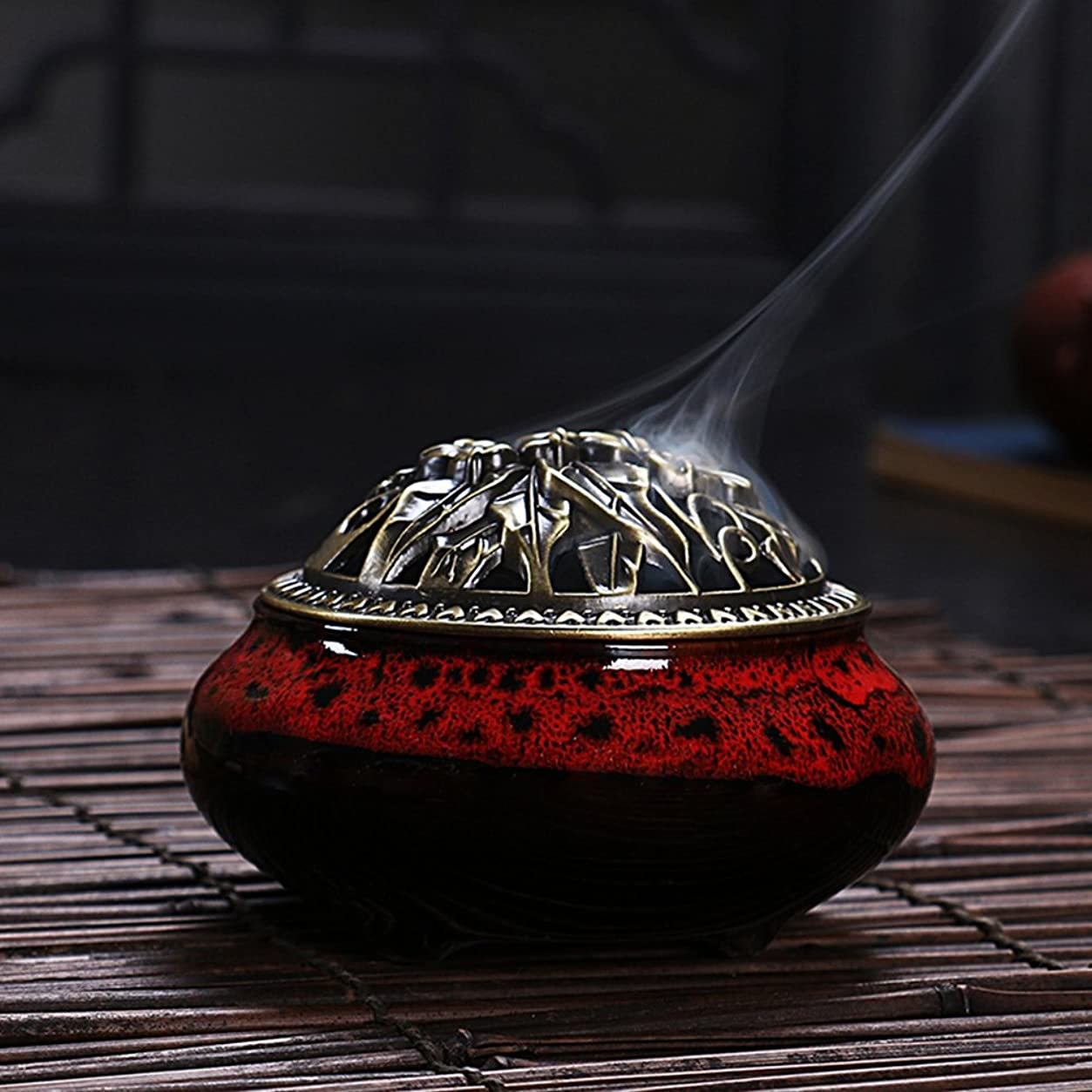 シリーズ収まる可塑性セラミック ホームデコレーション インセンススティック コーン バーナー 磁器 香炉 onesize Ice-Incense Burner-Jesper Red