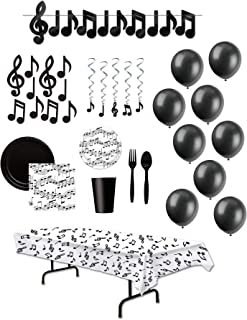 Music Decorations and Disposable Tableware Party Supplies for 24 Guests Musical Note Whirls Streamer Balloons Cutouts Tablecover