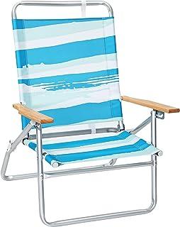 SONGMICS Silla de Playa Portátil con Respaldo Alto y Reclinable en 3 Posiciones, Silla de Playa Plegable con Apoyabrazos de Madera, Capacidad de Carga 150 kg, Tiras Azules Verdes y Blancas GCB66UW