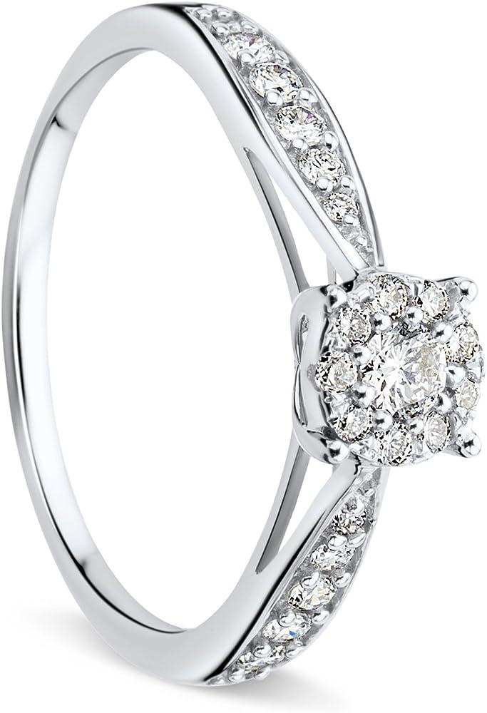 Orovi anello donna in oro bianco 9 kt / 375,e diamanti taglio brillante ct 0.3 OR81043R52