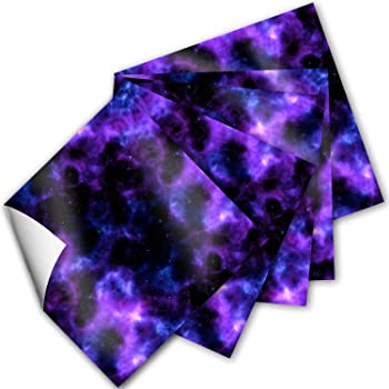 Craftopia Craft Vinyl Squares - 12 x 12-Inch Galaxy Space Patterned Sheets for Design Transfers DIY Crafts, Scrapbooking - Decorative Supplies for Decals & Signs (Purple Blue)