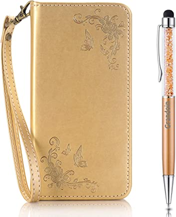 Grandoin Case for G5  Premium Leather Unique Design Magnetic Flip Cover with Card Slots Holders  Pressed Pattern Design  Bookstyle Wallet Case  Gold