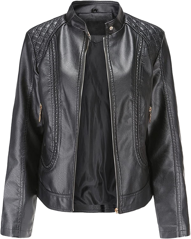 Women Leather Jacket Women Spring Autumn Stand Collar Motor Biker Coat Pu Outwear Fall Jacket Black Red (Color : Black, Size : M.)