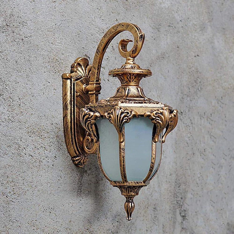 SXFYWYM Auenlader LED-Wandlampe Alloy Retro wasserdichte Glaswand Sconce für Patio Exterior Villas Beleuchtung,Brass,20x20x38cm