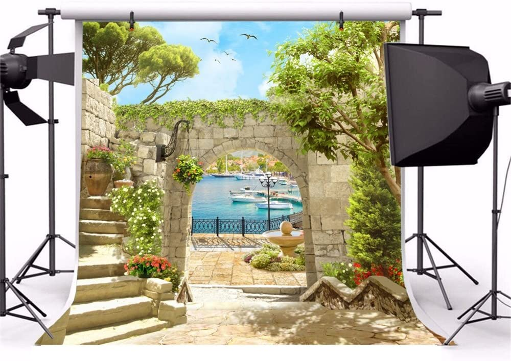 Italy Scenery Frasco Backdrop 10x10ft Vinyl Photography Background European Arch Pavilion Graceful Curtain Romantic Floral Passage Arch Bench Tourism Resort Scenic Indoor Decors Wallpaper