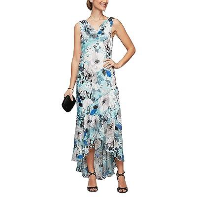 Alex Evenings High-Low Hem Printed Sleeveless Dress