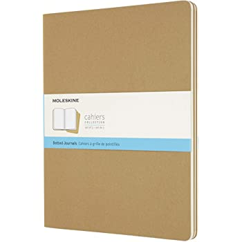 """Moleskine Cahier Journal, Soft Cover, XXL (8.5"""" x 11"""") Dotted, Kraft Brown, 120 Pages (Set of 3)"""