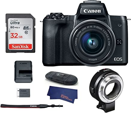 $899 Get Canon EOS M50 Mirrorless Digital Camera with 15-45mm Lens -Black (USA Warranty) + Canon EOS M Mount Adapter for Canon EF/EF-S Lenses - 6098B002
