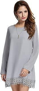 Women's Solid Long Sleeve Lace Embellished Loose Chiffon Dress