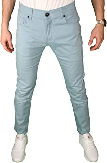 Mens Slim Fit Stretch Pants Fashion Casual Stretchy Khaki Comfy Chino Colored Tapered Skinny Stretch Jeans
