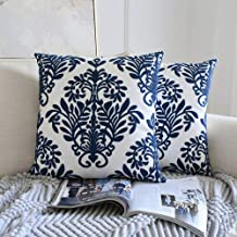 Zeroomade Navy Throw Pillow Covers Decorative Embroidery Cushion Covers Square Cotton Linen Pillowcases for Sofa Bedroom Car Home Décor Leaves 18 X 18 inch Set of 2
