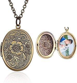 Hsumonre - collana con ciondolo a forma di cuore, ovale, con medaglione in bronzo anticato intagliato e Rame, colore: Oval...