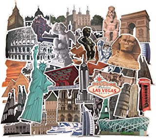 Famous Landmarks and Attractions Stickers, 64 pcs Waterproof Vinyl Sticker Pack for Luggage, Travel Case, Scrapbooking, Jo...