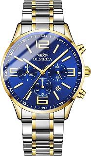 OLMECA Men's Luxury Watch Fashion Analog Quartz Watches Stainless Steel Chronograph Women Watch Waterproof Wrist Watch for Men 868