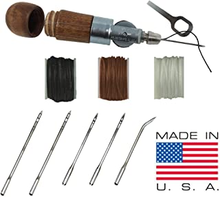 Professional Leathercraft Accessories, Sewing, Stitching Awl Tool Kit & Supplies, HEAVY DUTY - MADE in USA – DIY Craft, Leather, Heavy Fabric, Canvas, Upholstery, Bag, Shoe, Belt Repair Lockstitch Set