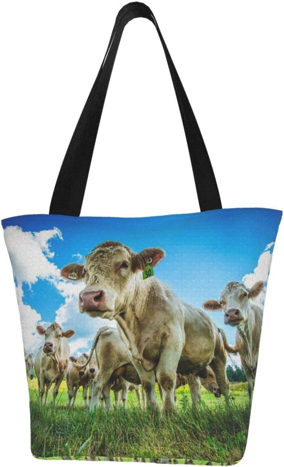 All stores are sold AKLID Nature Cow Extra Large Water Resistant Tote Over item handling ☆ Bag Canvas for
