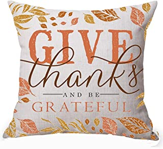 Happy Fall Autumn Maple Leaves Pumpkin Give Thanks And Be Grateful Thanksgiving Halloween Gifts Cotton Linen Square Decorative Throw Pillow Case Personalized Cushion Cover 18