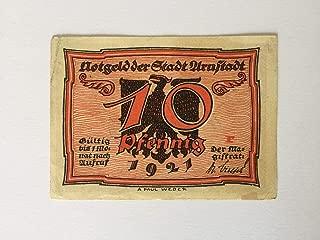 Germany 10 Pfennig Banknote 1921 Notgeld Arnstadt Collectible Rare Currency