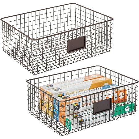 mDesign Caja multiusos de metal despensa y dem/ás Pr/áctica cesta de almacenaje con 3 compartimentos para cocina Caja organizadora compacta y universal plateado mate