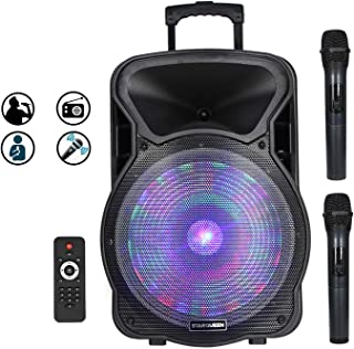 $190 » STARQUEEN 15Inch Portable Bluetooth Speaker, Rechargeable PA System with 2 Wireless Microphones/LED Party Lights, AUX/USB/TF Input/FM Radio/Holes for Tripod Stand