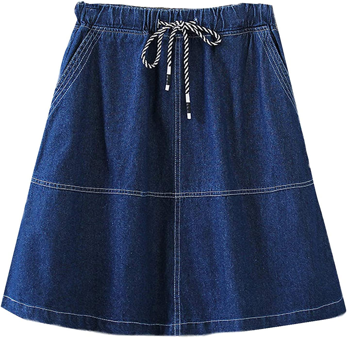 Yimoon Women's Casual Drawstring A-Line Denim Jean Skirt with Pockets