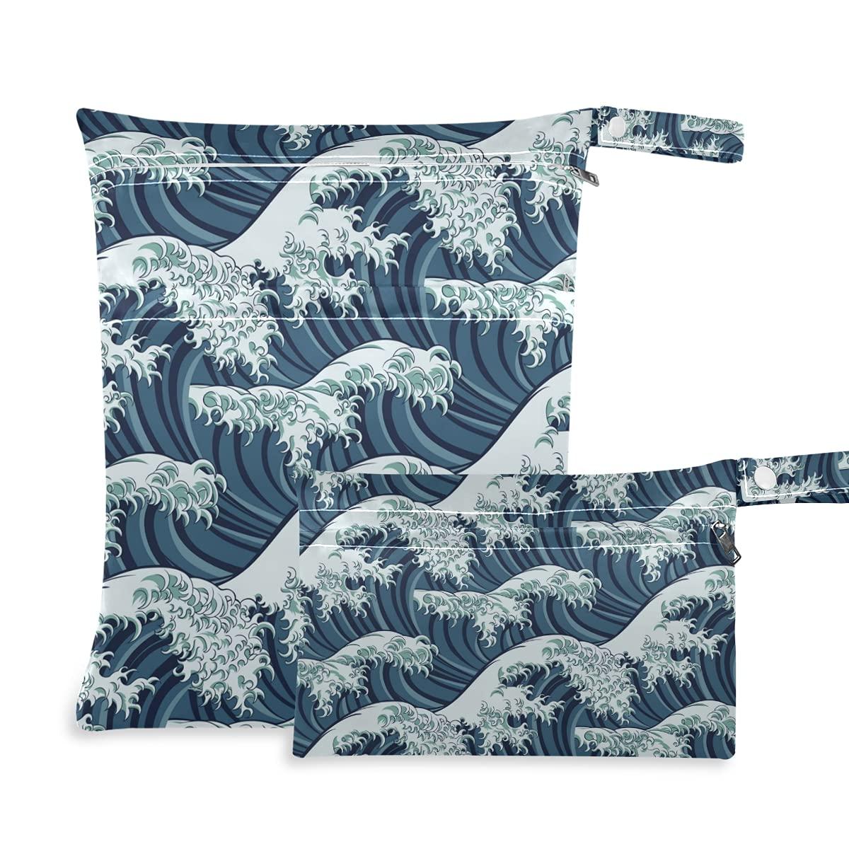 Japanese Great Wave shopping Wet Dry favorite Diaper Reusable Swim Bag for