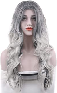 Beautyself Silver Grey Costume Wigs for Women Halloween Curly Long Wavy Fashion Cosplay Ombre Black Mix Gray Hair Wigs with Wig Cap
