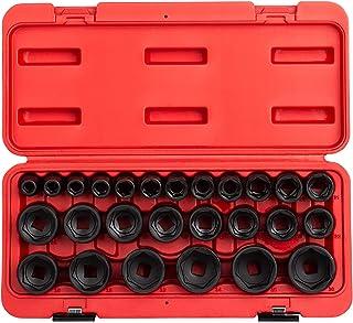 Sunex 2645, 1/2 Inch Drive Impact Socket Set, 26-Piece, Metric, 10mm-36mm, Cr-Mo Alloy Steel, Radius Corner Design, Heavy ...