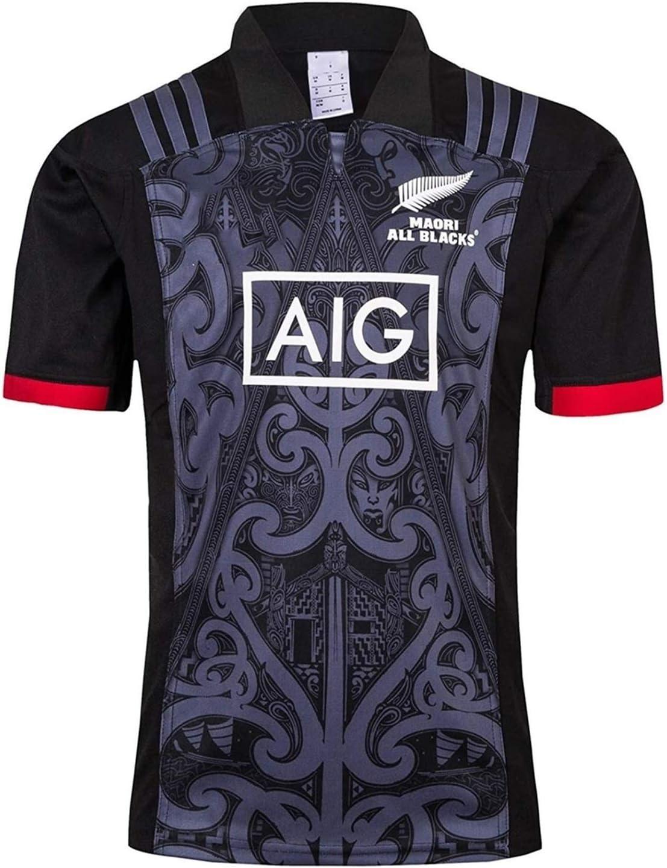 s- C New Zealand Maori rugby Jersey DZHTSWD Uomo traspirante Tempo libero Maglietta Taglia: XXL All Black 2019 Camicie casa Rugby League e Formazione Shorts 2 pezzi da uomo Competition Pro Jersey