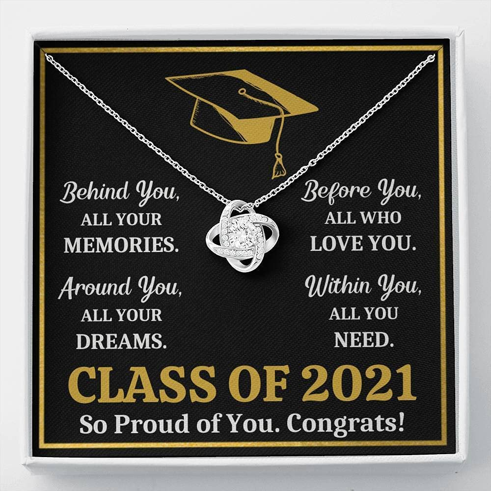 Message Card Jewelry, Handmade Jewelry - Graduation 2021 All You Need Gold Love Knot Necklace Gift Set