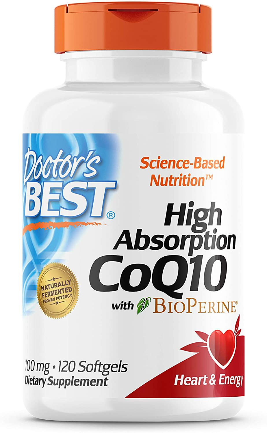 Doctor's Best High Absorption CoQ10 with BioPerine, Gluten Free, Naturally Fermented, Heart Health, Energy Production, 100 mg, 120 Count: Health & Personal Care