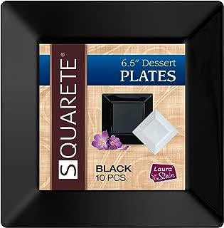 Squarete 6.5'' inch Black Dessert Plates Party Plates Heavy Duty Plastic Elegant Disposable 10 Dessert Plates Per Package