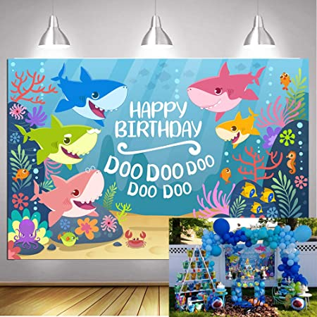 5X3ft, Blue Baby Shark Backdrop for Photography Undersea World Whale Shark Starfish Seahorse Photo Background Children Birthday Party