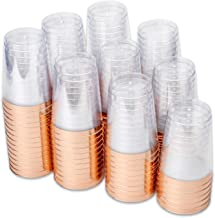 100 Rose Gold Plastic Tumbler Cups - 10 oz Premium Disposable Clear Plastic Cups with Rose Gold Rim for Weddings or Party ...