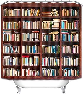 KEKESHIGEDOU Cortinas de Ducha Biblioteca Estantería Estudio Estantería Cortina de baño, Libros Decoración de baño, Tela de poliéster Impermeable Anti-Moho 180x180cm