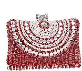Redland Art Women's Fashion Mini Pearl Beaded Tassel Clutch Bag Wristlet Catching Purse Evening Handbag for Wedding Party (Color : Red)