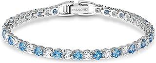 SWAROVSKI Women's Deluxe Rhodium Plated Rose Cut Crystals Tennis Bracelet , Blue/White Crystal