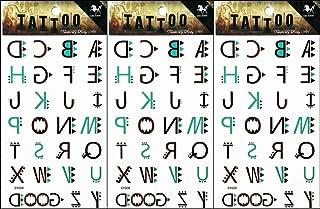 PP TATTOO 3 Sheets ABC Fashion Letters A to Z Cartoon Temporary Tattoos Body Art Tatoos Sticker Sexy Tattoos Fake for Women Men