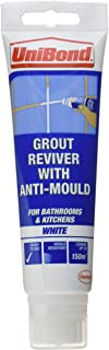 UniBond Anti-Mould Grout Reviver for Floors and Walls Tube and Sponge 125ml - Ice White