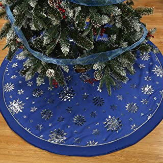 48'' Christmas Tree Skirt with Round Trim Snowflake Imitation Linen Classic Tree Skirt Blanket for Xmas Decor Festive Christmas Supply (Blue)