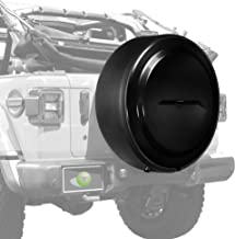 Boomerang - MasterSeries Hard JL Tire Cover - (255/70R18) - (Painted Plastic Face & Black Powder-Coated Ring) for Jeep Wrangler JL (with Back-up Camera) - Sahara (2018-2020) - Black