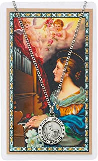 Saint Cecilia 3/4-inch Pewter Medal Pendant Necklace with Holy Prayer Card