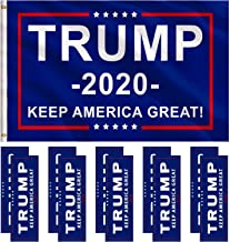 Jetec 1 Pack President Donald Trump Flag 2020 (3 x 5 Feet) with Grommets and 10 Pieces Bumper Stickers Car for Supporting President Trump (Color A)