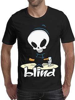disar-t Men's Blind-Skateboards-Logo T-Shirt 100% Cotton Summer O-Neck Tee Tops Short Sleeve Black