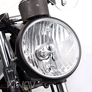 KiWAV Sirius 7 inch round motorcycle headlight headlamp with black housing SAE compliant Halogen HB2 bulb 12V 55W 60W