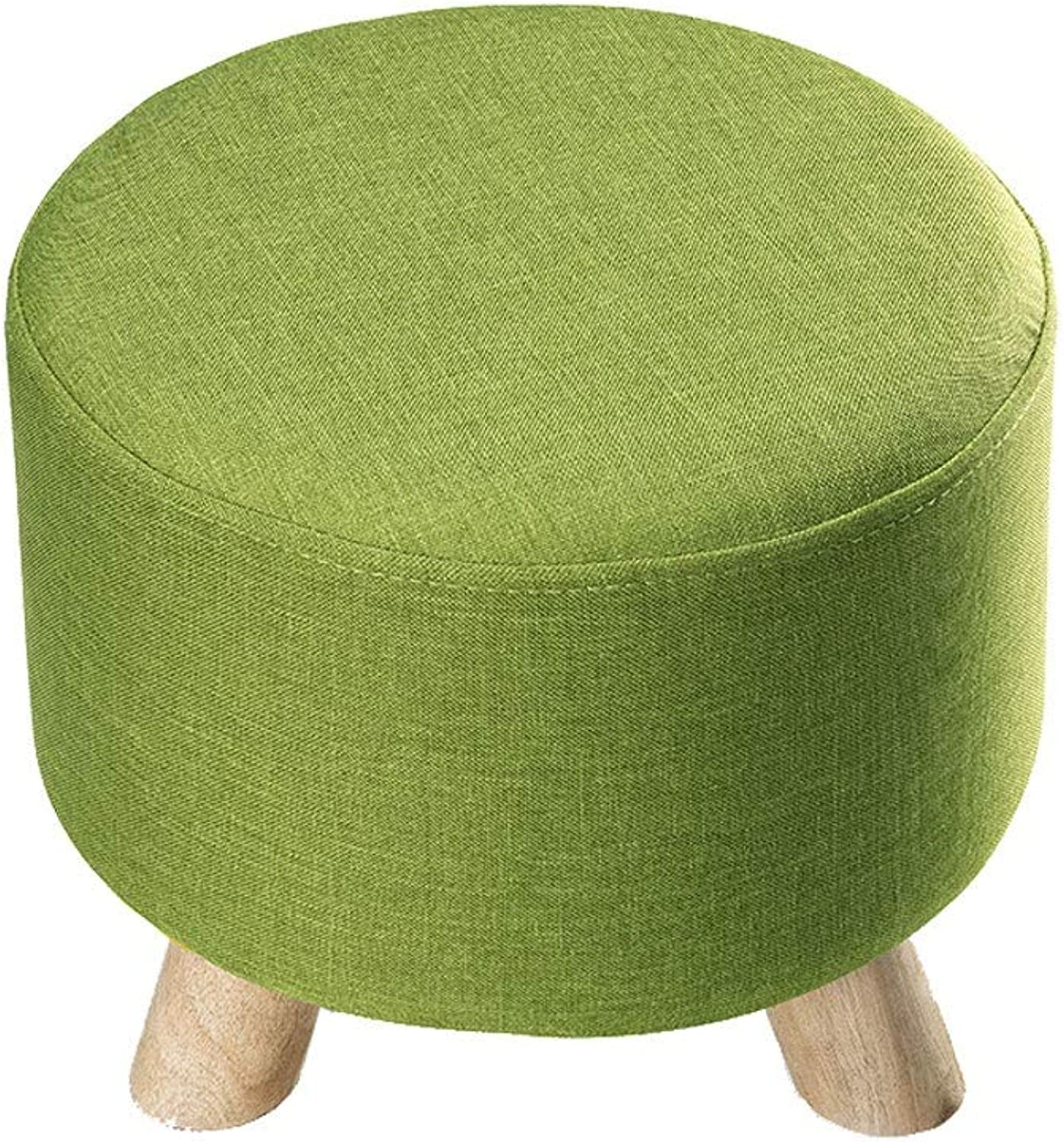 Ailj Footstool, Household Washable shoes Bench Living Room Fabric Three-Legged Small Stool 30  30  28cm 4 colors (color   Green)
