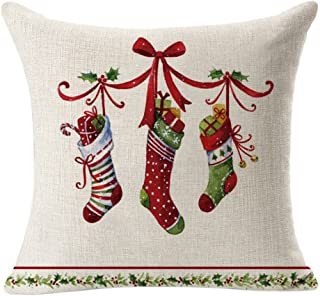 Unionm 85# Pillow Covers Christmas Decor Throw Pillow Case Cotton & Linen Tree Socks Balloon Sled Merry Christmas Square 45 x 45 cm 18 x 18 inch Cushion Cover for Home Sofa Car 1 Pack D