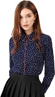 Allegra K Women's Long Sleeve Button Down Polka Dot Shirt